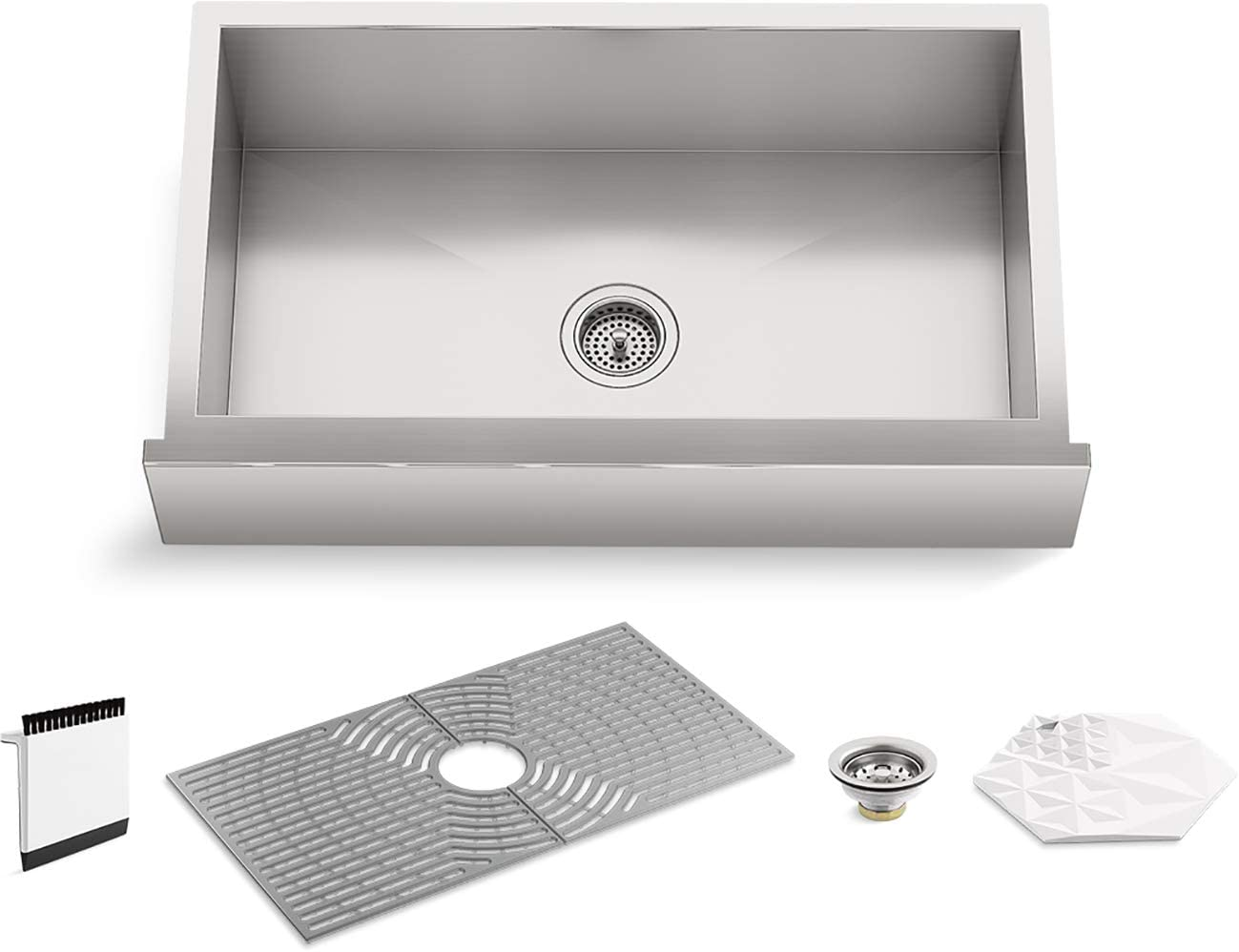 Kohler K-20243-PC-NA STERLING Ludington 34 Under-Mount Single-Bowl Farmhouse Kitchen Sink with Accessories, Apron-Front Basin, Stainless Steel