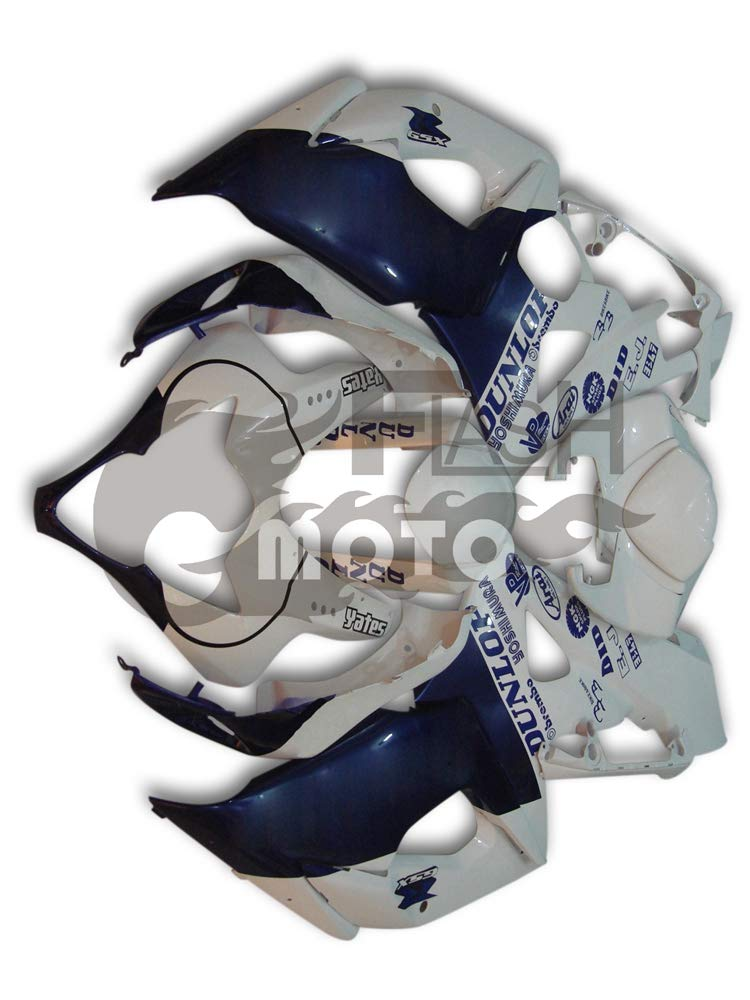 FlashMoto suzuki 鈴木 スズキ K5 GSXR1000 2005 2006用フェアリング 塗装済 オートバイ用射出成型ABS樹脂ボディワークのフェアリングキットセット (ホワイト,ブルー)   B07M5TCRDZ