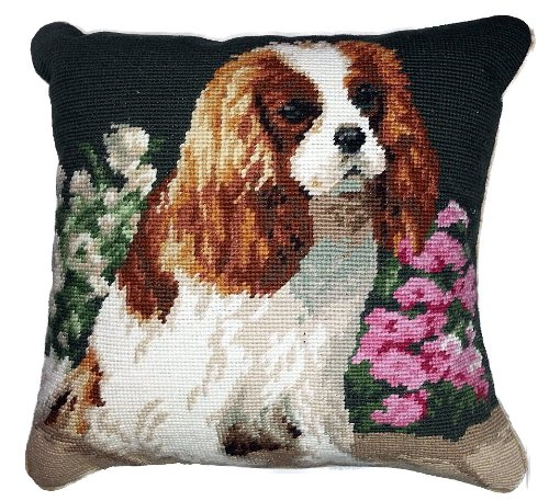 Blenheim Cavalier King Charles Spaniel Dog Portrait Wool Needlepoint Throw Pillow - 14