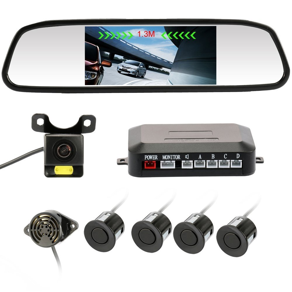 Rear View Camera 4.3'' inch Waterproof IR Night Vision Car Dash Cam Rearview Mirror Backup Camera With 4 Parking Sensors 170 Wide Angle Reverse/Rear View Cam tft-lcd Display Accfly