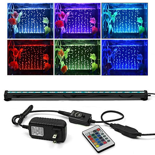 KAPATA Submersible Aquarium Light, Underwater LED Lighting with 24key Controller 16 Colors and 4 Color Changing Modes for Fish Tank 52CM/21inch