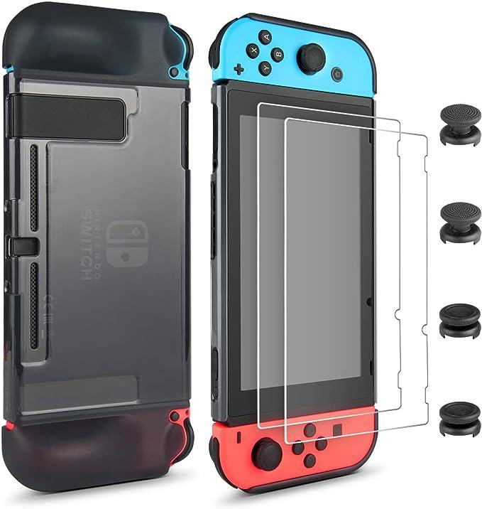 Juego de Accesorios para Nintendo Switch - innoAura Juego de Protección 7en1 que Incluye Funda de TPU, 2 Protector de Pantalla de Vidrio Templado y 4 Una Cubierta para Mandos Analógicos: Amazon.es: Electrónica