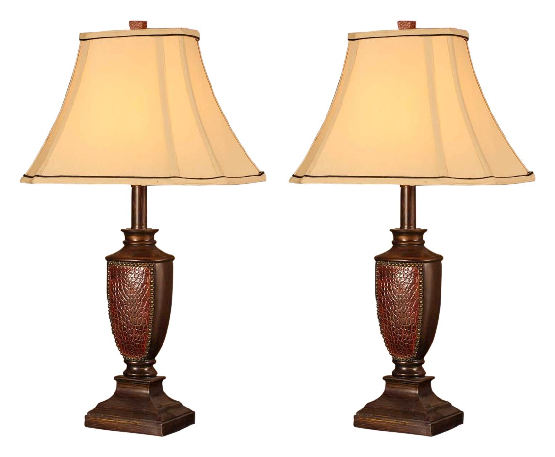 Delicieux Amazon.com: Kingu0027s Brand L2601 Fabric Shade Table Lamps, Brushed Red  Finish, Set Of 2: Kitchen U0026 Dining