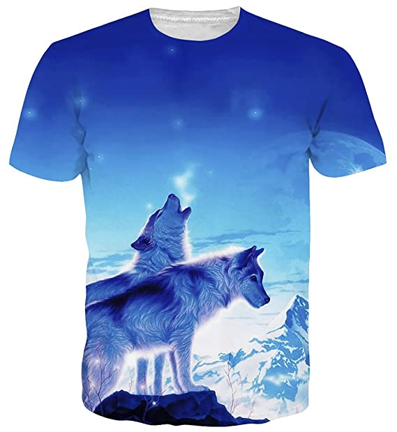 6229a9286 Cutemefy Juniors Hipster Tshirts 3D Print Wolf Short Sleeve Graphic Tees