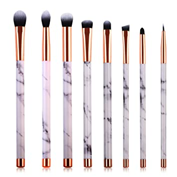 eye brush set. marble makeup eye brush set - eyeshadow brushes angled eyeliner lip blending