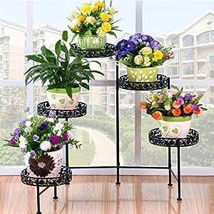 Iron Flower Staircase Flower Pot Rack Outdoor Living Room Balcony Flower Rack (116 * 21 * 68cm) (Color : Black)