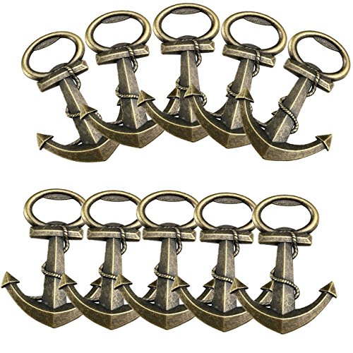Yoption Anchor Nautical Themed Bottle Opener, 10 Pack Wine and Beer Accessories Metal Stainless Steel Bottle Opener
