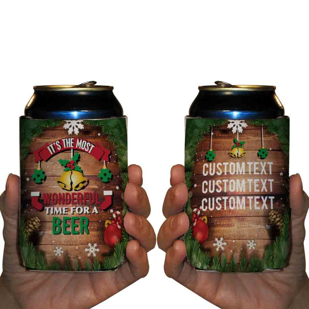 Custom Christmas Can Cooler - It's The Most Wonderful Time For A Beer - Great For Ugly Sweater Parties (250)