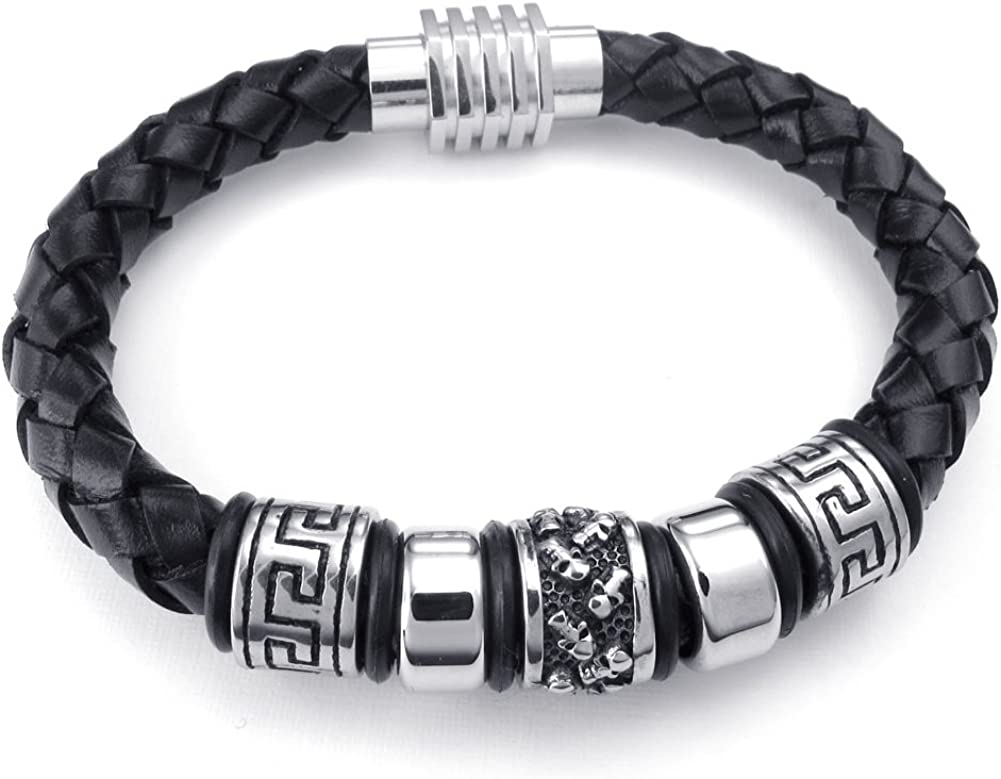 8 8.5 9 CLJSTORE Jewelry Black Leather Mens Bracelet Bangle Stainless Steel Clasp