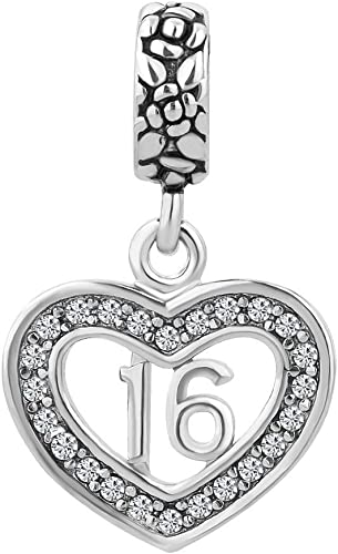 STERLING SILVER DANGLING SWEET 16 WITH HEART EUROPEAN BEAD