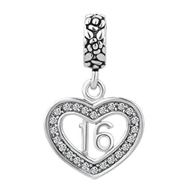 172ff69b9 Amazon.com: LuckyJewelry Rhinestone Sweet 16 Birthday Dangle Heart Charms  Bead fit Pandora Style Bracelet Sale: Jewelry
