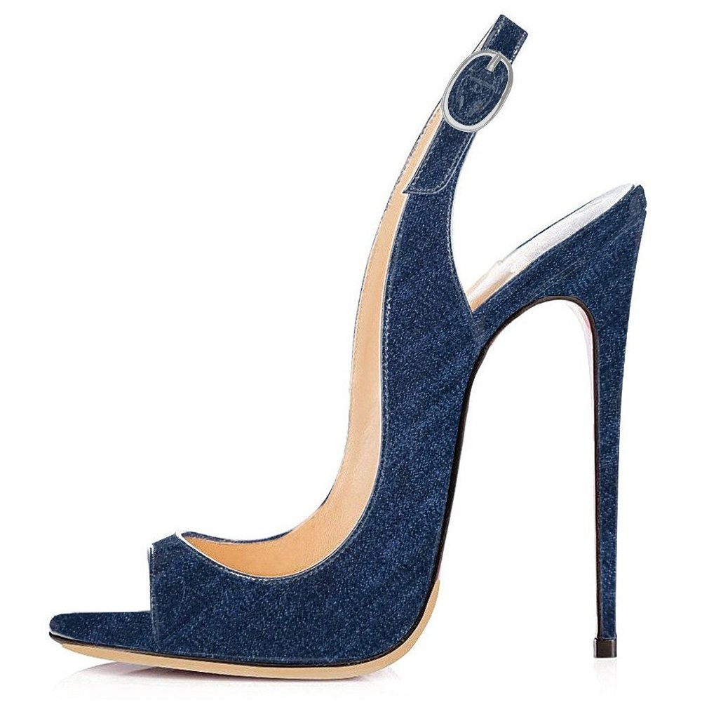 Dark bluee Denim UMEXI Open Toe Slingbacks Ankle Strap High Heels Stiletto Pumps Wedding Party shoes for Women