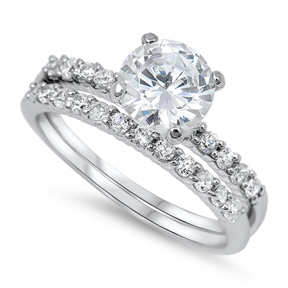 White CZ Round Solitaire Promise Ring Set .925 Sterling Silver Band Sizes 5-10 Sac Silver