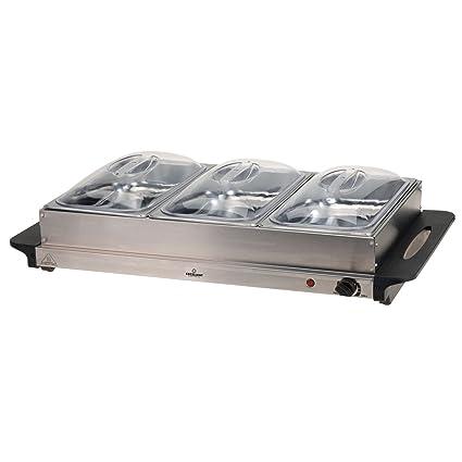 Unbekannt Buffet (Acero Inoxidable, Soporte calentador con 3 bandejas de 2 litros)