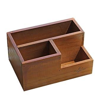 Fablcrew Caja de Almacenamiento Cosmética de Madera Vintage Caja de Macetas 19.5 * 13.8 * 9.5cm Marrón: Amazon.es: Hogar