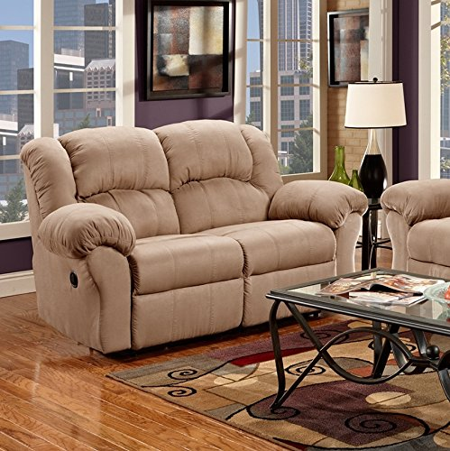 Roundhill Furniture Sensation Dual Reclining Loveseat, Camel Tan