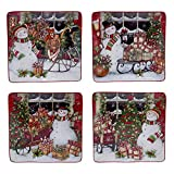 "Certified International Snowman's Sleigh Dinner Plates (Set of 4), 10.25"", Multicolor"