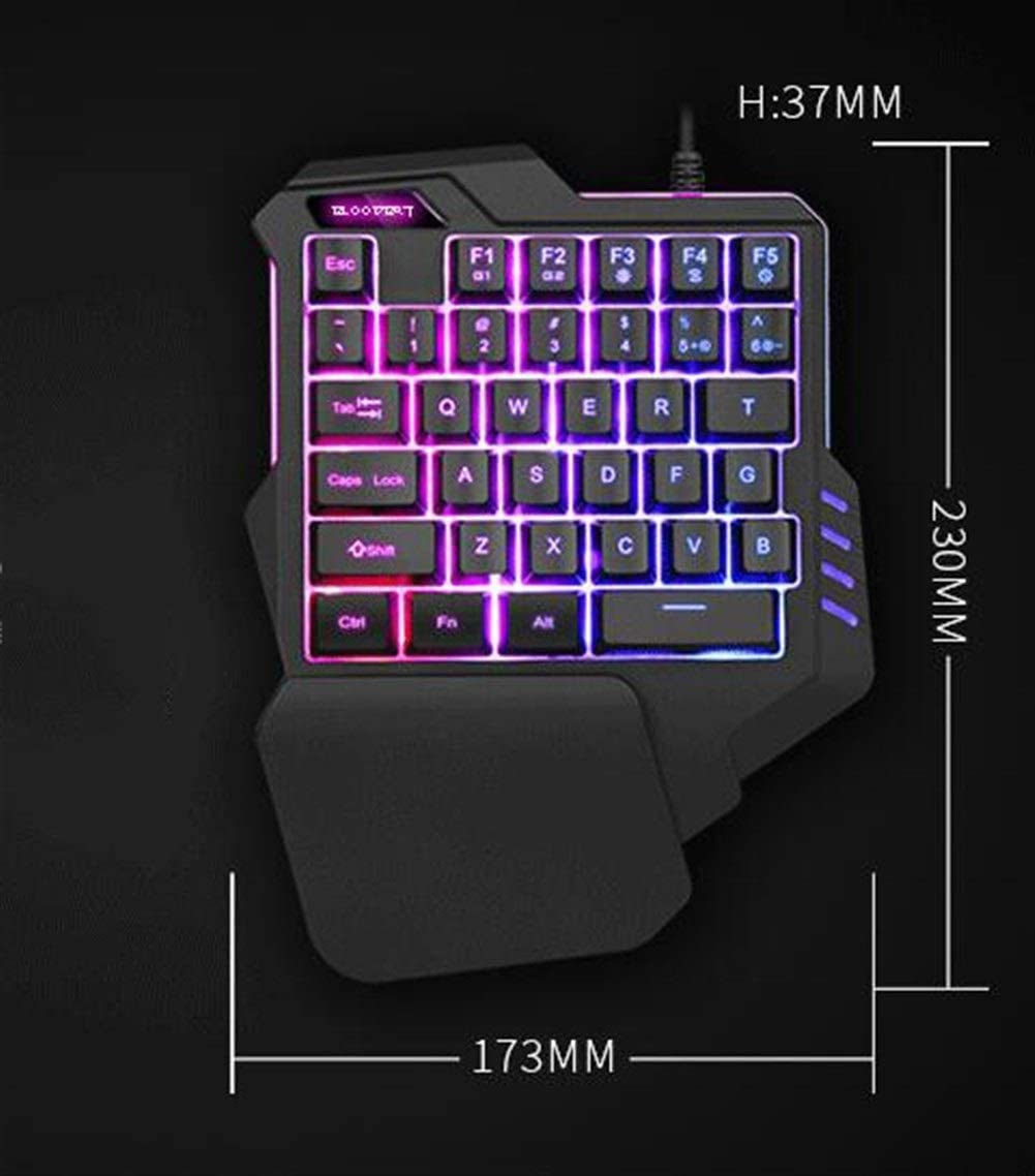 Non-Mechanical Laptop Gaming Keyboard Gaming Keyboard Products CHENTAOCS One-Handed Keyboard Colorful RGB Backlight Color : Rainbow Backlight