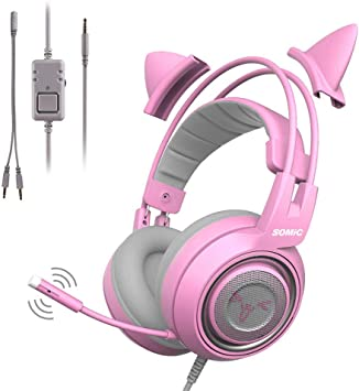 Gaming Headset,Auriculares Rosa para Juegos con Micrófono ...
