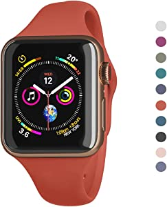 Compatible Apple Watch Series 5,4,3,2,1 Band 38mm 40mm 42mm 44mm /Airpods Container for Free/Soft Silicone Sport Wrist Strap iWatch Replacement Wristbands for Apple Watch S/ (Camellia Red, 38MM/40MM)
