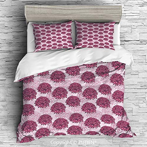 TWIN Size Cute 3 Piece Duvet Cover Sets Bedding Set Collection [ Pink,Hand Drawn Graphic Design Chrysanthemums Flourishing Flowers Natural Retro Art,Light Pink Pink ] Comforter Cover Set for Kids Girl
