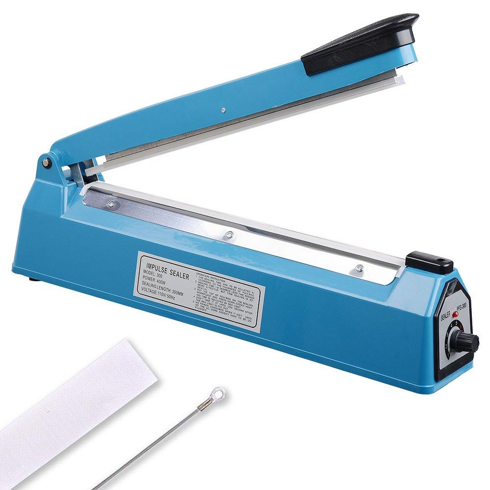 Yescom 12'' 300mm Impulse Manual Hand Sealer Heat Sealing Machine Poly Tubing Plastic Bag