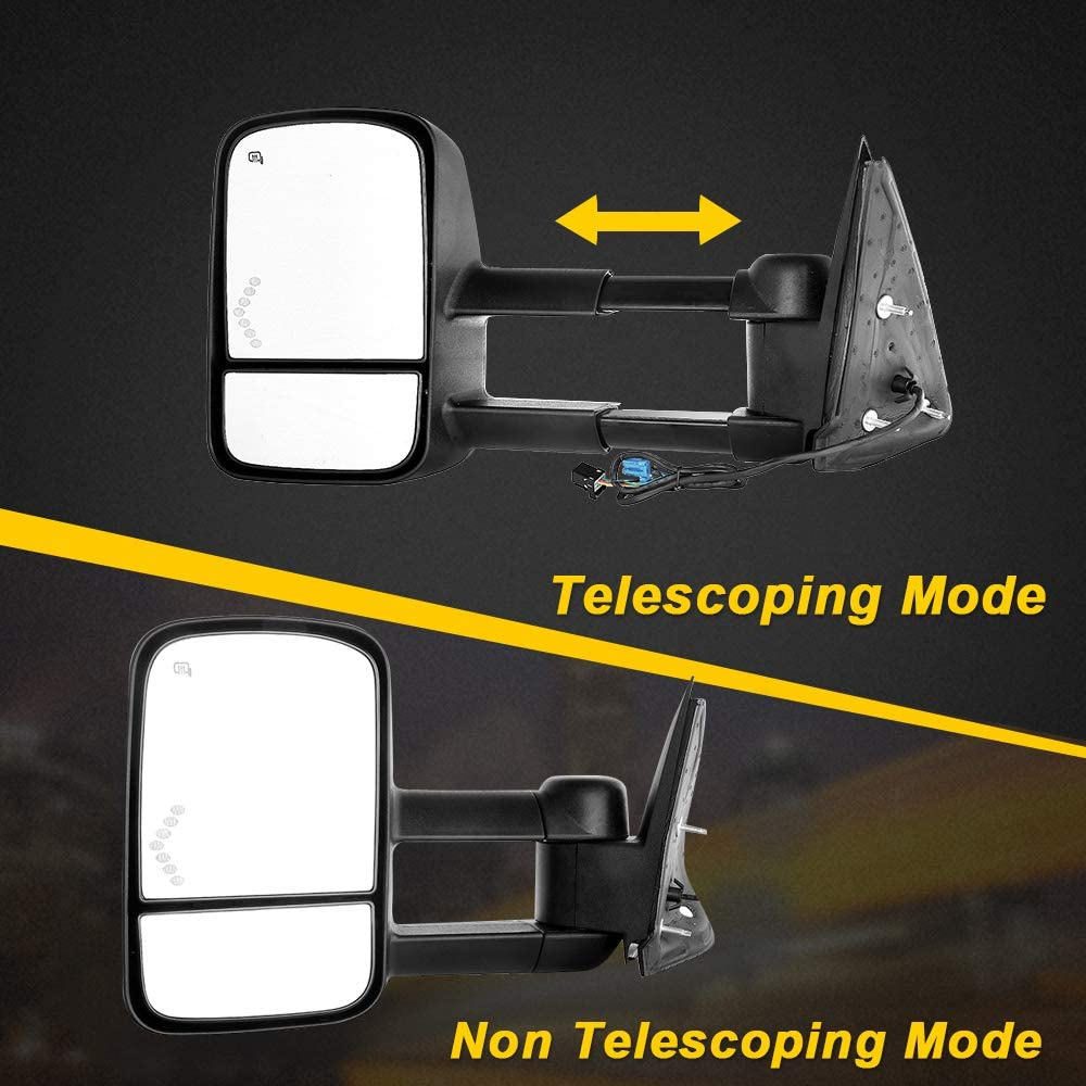 OCPTY Pair of Power Adjusted Heated Towing Side LED Turn Signal Manual Telescopic Tow Mirrors Fit for 03-07 Chevy GMC Silverado Sierra 07 Classic Models