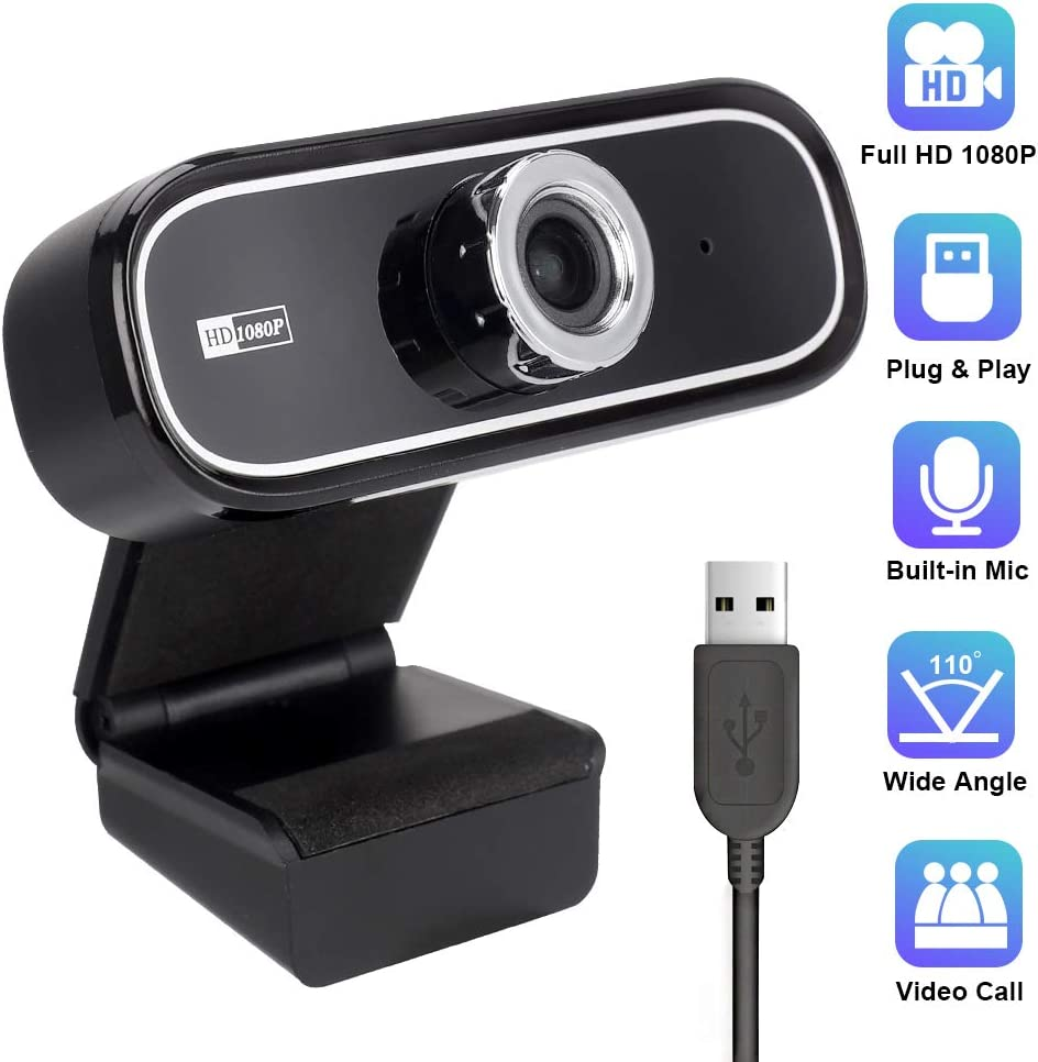 SIXGO 1080P Webcam with Microphone, Full HD Web Cameras for Computers USB PC Webcam Laptop Desktop Camera with 110 Degree Wide View Angle for Pro Streaming,Recording,Calling,Video Conferencing
