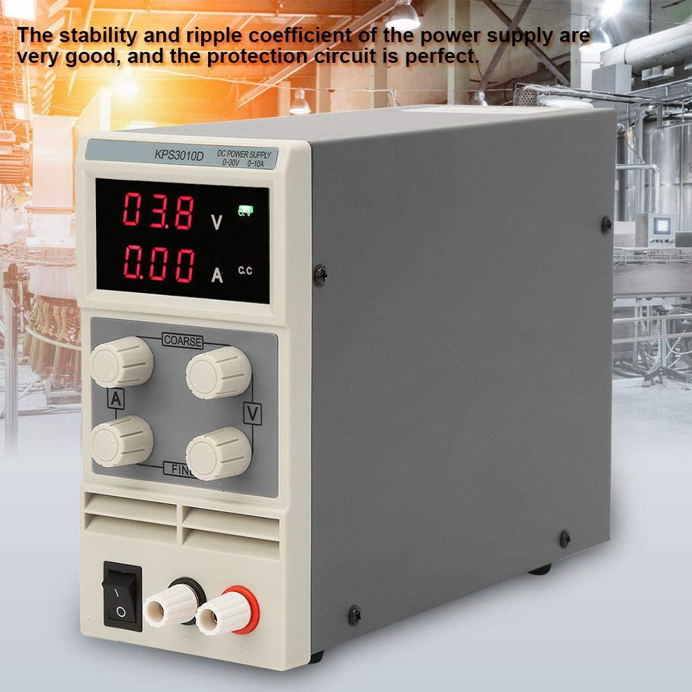 30V//10A Fuentes de alimentacion DC Variable con Pantalla 3LED 100-240V de Ventilador de Temperatura Controlada Bajo Ruido Alta Precisi/ón Alta Inteligencia