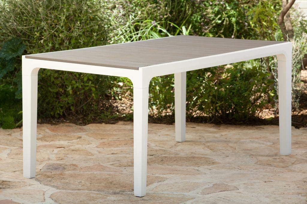 Mesa Harmony resina cm.160 x 90 x 74h blanco/Pardo Muebles ...