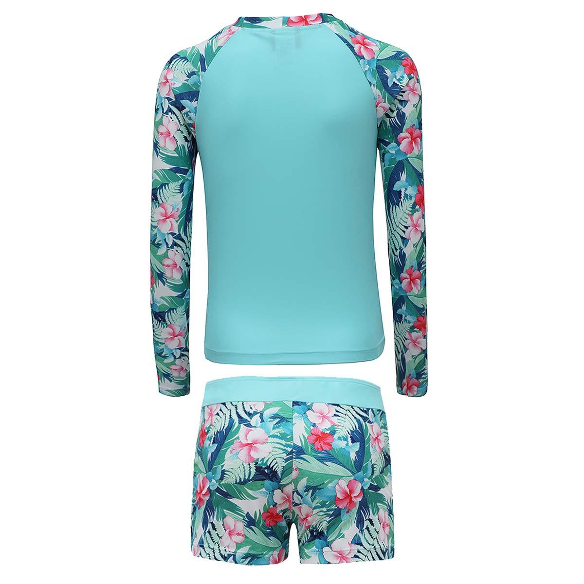 5e8bf75c6b Amazon.com: PHIBEE Girls' Rash Guard Set Long Sleeve UPF 50+ Sun Protection  Two-Piece Swimwear: Clothing