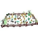 Fenteer シミュレーション 野生動物 木 フェンス 動物フィギュア 動物園 動物モデル おもちゃセット 約68点パック