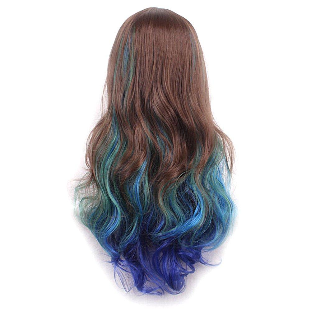 Vococal - 70CM Peluca de pelo para mujer,Largo Rizado Fibra Pelucas Disfraz Baratas onduladas del pelo para Cosplay/Partido/Halloween/Navidad (Colore A): ...