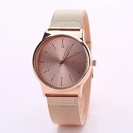 Vovotrade moda popular mujer chica clásico oro cuarzo acero inoxidable  reloj de pulsera (Rosa dorada) fea86bdd6f55