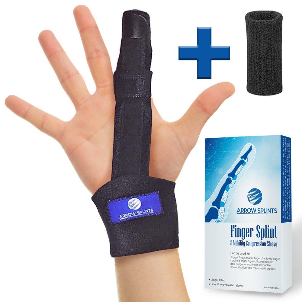 Trigger Finger Extension Splint + Finger Sleeve w/Aluminum Support for Trigger Finger, Mallet Finger Brace, Arthritis & Tendonitis Pain Relief, Broken Fractured Finger Cast, Knuckle Immobilizer