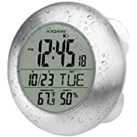 KADAMS Digital Bathroom Shower Wall Clock, Waterproof for Water Spray, Seconds Counter, Temperature Humidity, Moisture Proof, Calendar Month Date Day, Suction Cup Stand Hanging Hole - Silver Frame
