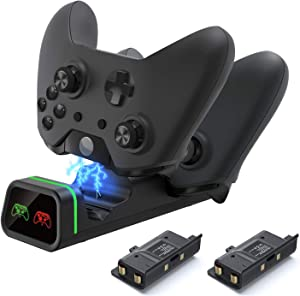 Xbox one Controller Charger,Xbox Controller Charging Station Compatible with Xbox One/One X/One S/One Elite, Dual Charging Dock with 2 x 800mAh Rechargeable Battery Packs