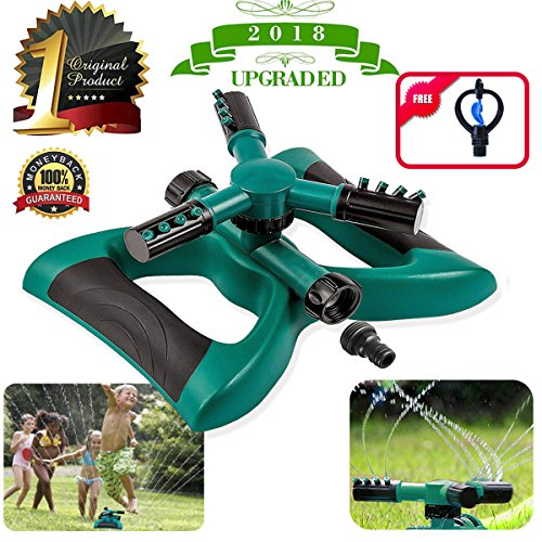 Lawn Sprinkler Automatic Sprinklers For Garden 360 Rotating Adjustable Garden Water Sprinklers For Lawns Irrigation System Covering Large Area With 3 Arm Sprayers Coverage Leak Free Durable -