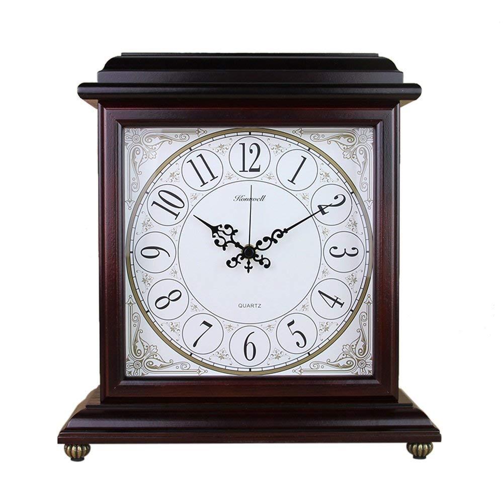 デスククロックファミリークロックアメリカンレトロマントル置時計ノンチックサイレント木製リビング/オフィス用リビングルームのベッドルームに最適オフィス(色:ワインレッド-2) B07THX1X24 Wine Red-2