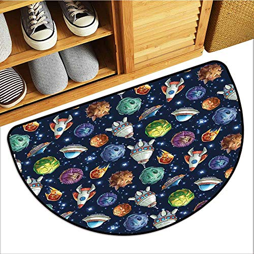 Axbkl Interior Door mat Space Futuristic Science Fiction Comic Planet Spaceships Androids Rockets UFO Illustration Easy to Clean W31 xL20 Multicolor ()