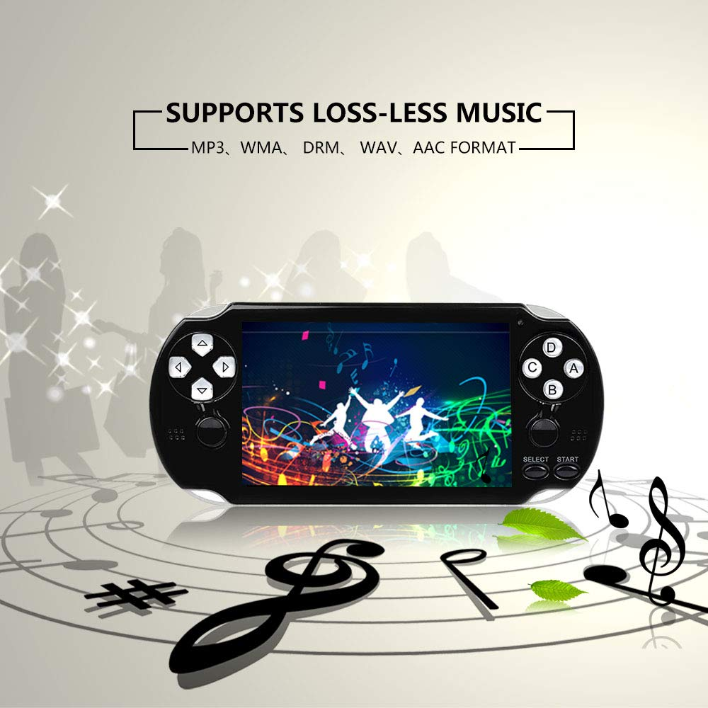 BAORUITENG Handheld Game Console , Retro Game Console with 3000 Classic Games 4.3'' 64 Bit Portable Game Console Support / Camera GBA / GBC / SEGA / NES / SFC / NEOGEO and Loss-Less Music(Black) by BAORUITENG (Image #4)