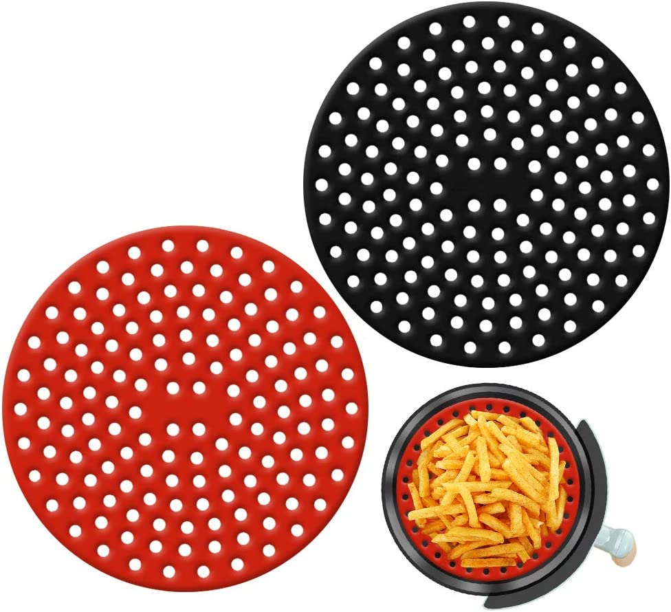 Air Fryer Liners, Reusable Non-Stick Silicone Mats, Round Deep Fryer Parts, Various Air Fryer Accessories for Kitchen Making Food (9inch)
