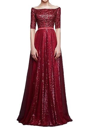 Gorgeous Bride Stylish Sequins Evening Prom Dress Bateau Neck Off-shoulder Party Gown: Amazon.co.uk: Clothing