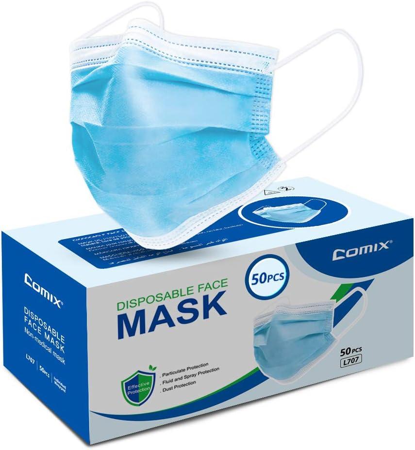 Comix Disposable Face-mask With 3-ply (non Sterile) Procedural-masks, L707 50pcs, 1count, Blue - -