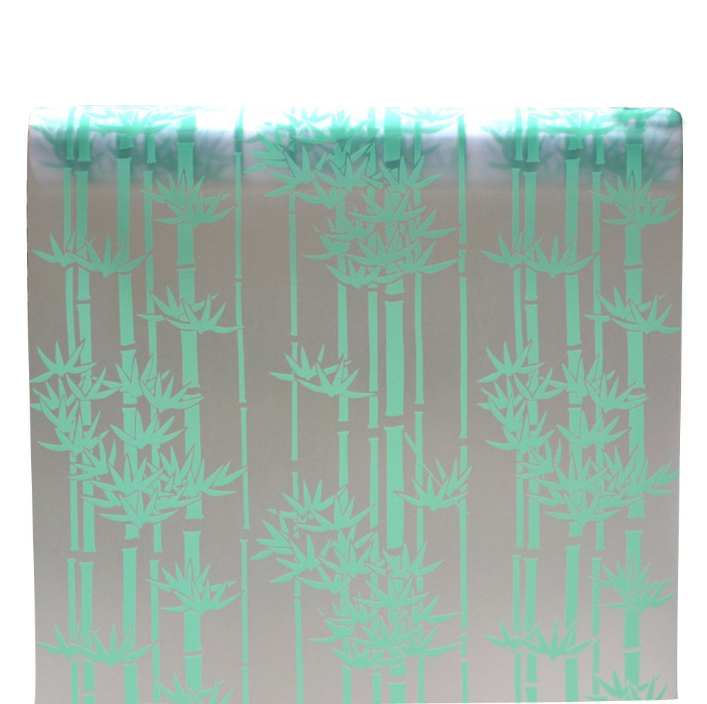 90 x 200 cmつや消しプライバシーガラスフィルム静的with接着剤による粘着ウィンドウフィルムグリーン竹Frostedステンドグラスステッカー B0747QVZVC