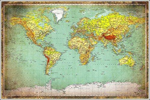 Huge World Map Vintage Style 36