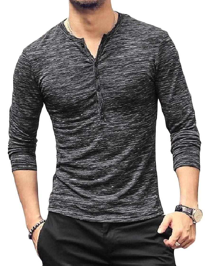 Etecredpow Men Button Crewneck Trendy Long Sleeve Pullover T-Shirt Top