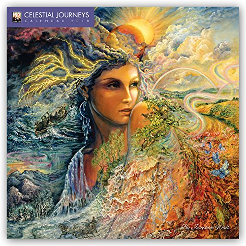 Celestial Journeys by Josephine Wall 2018 12 x 12 Inch Monthly Square Wall Calendar with Glitter Flocked Cover by Flame Tree, Fantasy Art Artist Illustration Paintings
