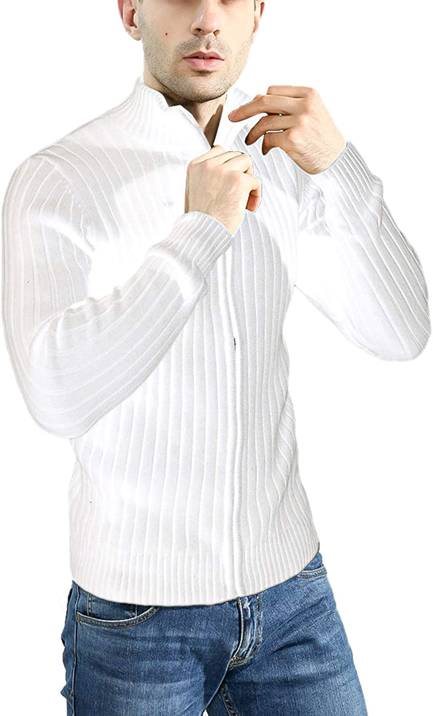 Lentta Mens Long Sleeve Stand Collar Full Zip Up Solid Cotton Cardigan Sweater