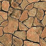 Birwall 2071 Faux Stone Textured Wallpaper Roll 3d Brick Blocks Home Decoration,20.8'' x 393.7'',Orange Rock&Gray&Black